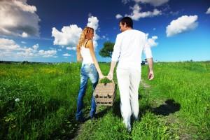Loving Couple At Picnic